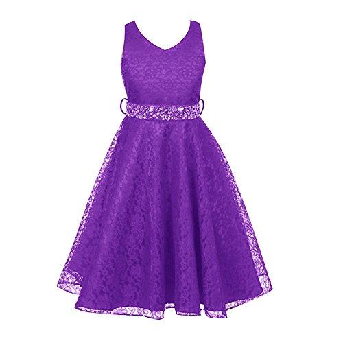 Free Fisher Mädchen Abendkleid Spitzenkleid, Lila, Gr.152/158( Herstellergröße: 12)