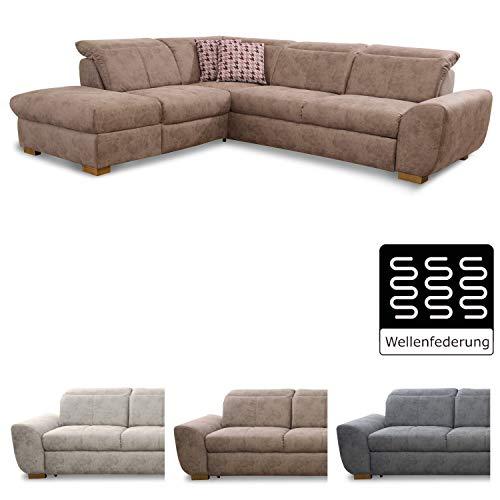 Cavadore Ecksofa Bules mit Ottomane links / Großes Sofa im modernen Design / 274 x 81 x 232 cm (BxHxT) / Kunstleder braun (Großes Microfaser-ottomane)