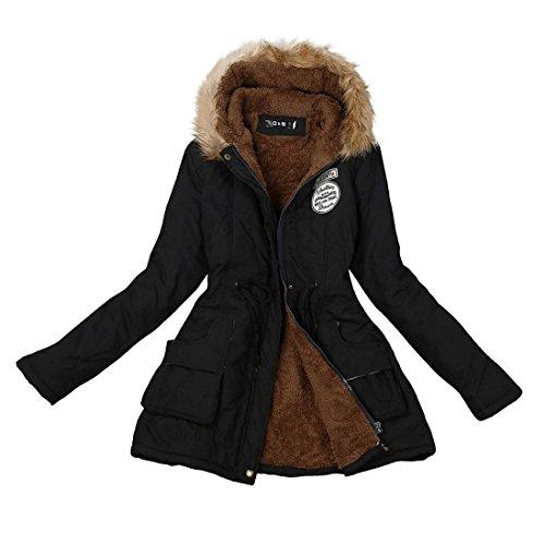Manteau Femme ,LMMVP Femme Longue Manteau Chaud Veste à Capuche en Fourrure Vêtements d'hiver Parka (XXL, noir)