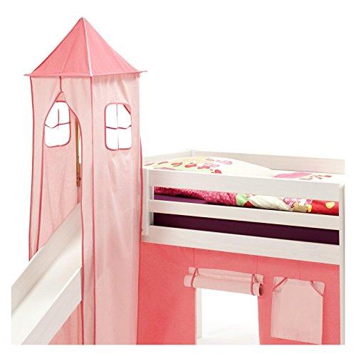 IDIMEX Turm MAX zu Bett mit Rutsche, Spielbett, Rutschbett, Kinderbett in pink/rosa