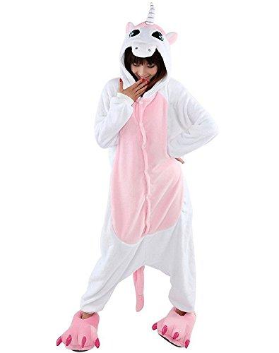 Minetom Unisexe Femme Homme Licorne Animal Pyjamas Cosplay Carnaval Costume Kigurumi Pyjamas Dessin Animé Vêtements de nuit Blanc Rose S