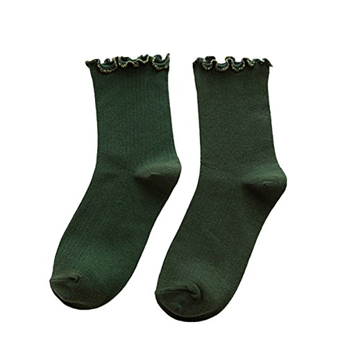Moresave Damen Socken mit Rüschen Abschluss Baumwollknöchelsocken, Grün (Mädchen Low Sport Sock Cut)