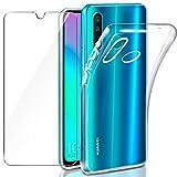 Leathlux Coque Huawei P30 Lite Transparente + Verre trempé Protection écran, Souple Silicone étui Protecteur Bumper Housse Clair Doux TPU Gel Case Cover Coque pour Huawei P30 Lite