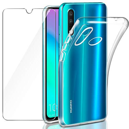 Leathlux Funda Huawei P30 Lite + Cristal Protector de Pantalla Huawei P30 Lite, Transparente P30 Lite TPU Silicona [Funda+Vidrio Templado] Protector de Pantalla 9H Dureza Carcasas Huawei P30 Lite