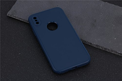 iPhone X Hülle, Chickwin 360 Grad TPU Silikon Schutzhülle Full Package Soft Shell Schutzhülle mit Anti-Rutsch Kratzfest Handyhülle (Dunkelblau) (Herren Cognac Justin)