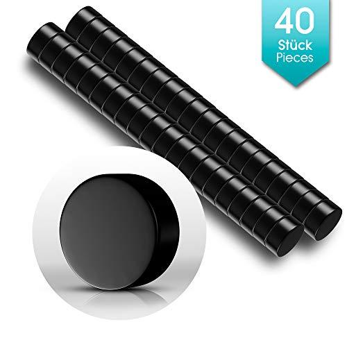 40 Premium Mini Magnete Schwarz | Neodym Magnet Schwarz, Rund, Klein | 6 x 3mm