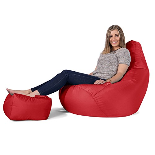 Big Bertha Original, Gaming Sitzsack Sessel Mit Passendem Hocker, Rot
