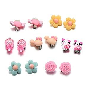 onnea 7 Kids Clip auf Ohrringe Set für kleine Mädchen Geburtstag Geschenke Princess Party SO tun, spielen Jewelry Set