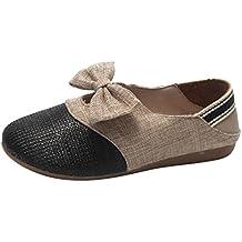a744e6c5eacdd lazo Suela Blanda Zapatillas Casual ... Open Toe mujer prime day ... Zapatos  de Vestir Chic para Mujer Otoño PAOLIAN Calzado de Tela de Lino Dama Plano  con