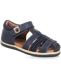 BOBUX - Chaussure Step Up I-Walk Roamer bleue en cuir avec des pièces en suède, made in New Zealand, avec fermeture, garçon, garçons