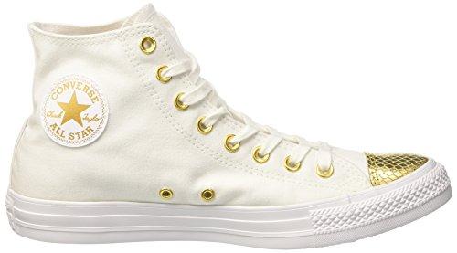 Converse Ctas Hi, Sneaker a Collo Alto Donna Bianco (White/Gold/White)