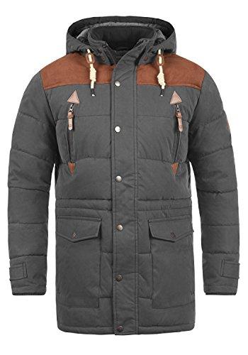 !Solid Dry Long Herren Winter Jacke Parka Mantel Winterjacke gefüttert mit Stehkragen und Abnehmbarer Kapuze