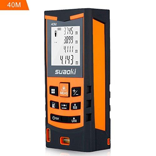 Suaoki 40M Laser- Entfernungsmesser Distanzmessgerät ±1,5mm mit LCD Hintergrundbeleuchtung, Staub- und Spritzwasserschutz IP 54
