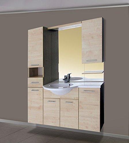 Luxus Badezimmermöbel Badmöbel Waschtisch Verbau ATRIUM weiss oder ahorn wandhängend 135cm bestehend aus Waschbecken, Spiegel mit Halogenbeleuchtung,Unterschrank mit 3 Türen und Hochschrank (ahorn)