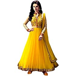 Anarkali Suit for Women Clothing Designer Party Wear Today Offers Low Price Sale Top Yellow Color Banglori Silk Fabric Free Size Salwar Kameez Dress