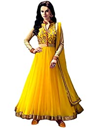 Rensila Women's Yellow & Beige Color Banglori Silk & Net Fabric Anarkali Salwar Suit