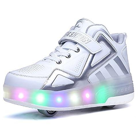 Luckly Grace Led Lumières Clignotant Couleur Changeant Chaussures à Roulettes Haute Haut Multisports Outdoor 7 Couleurs LED Colorés Baskets Sneakers Avec rouleau Fille Garçon (37 EU, Blanc-2 roues)