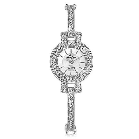 Demiawaking Women Rhinestone Bracelet Strap Dress Watch Classic Quartz Wrist Watches Gift (Silver)