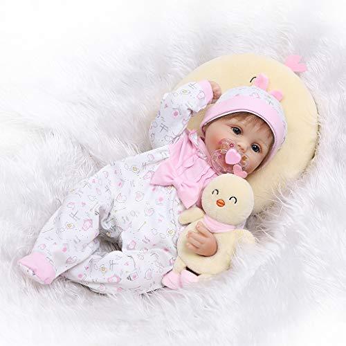 Senoow 16 Zoll Silikon Neugeborenen Lebensechte Baby Puppe Weiß Onesies Hut Gelb Küken Kissen Stirnband Frühen Kindheit Kinder Spielzeug