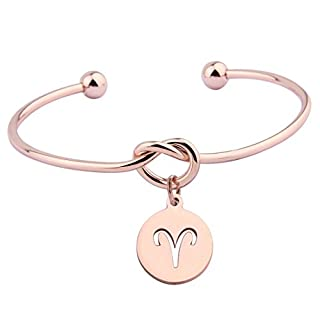 Rose Gold Love Knot Bracelet Tie the Knot Cuff Bangle with Zodiac Signs Disc Charm (Aries)