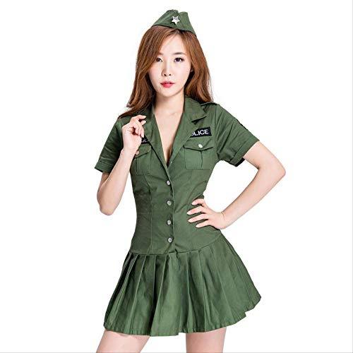 Secret Service Kostüm - HG-amaon Weibliche Polizei Cos Army Green Female Secret Service Mann Kostüm, Halloween Uniform Party Kostüm M Grün