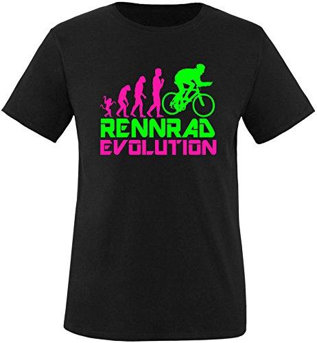 EZYshirt® Rennrad Evolution Herren Rundhals T-Shirt Schwarz/Pink/Neongr