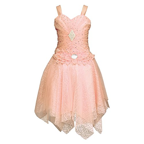 White World Baby Girls Orange Color Birthday Party wear Frock Dress_8-9 Years