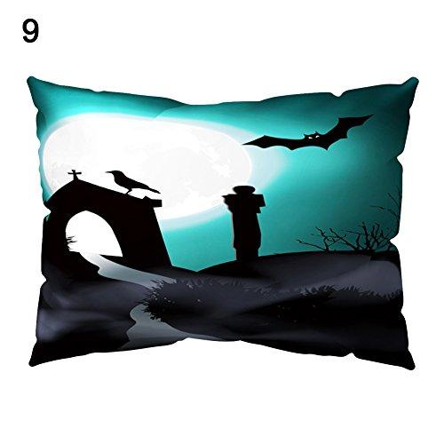 YSoutstripdu Dekoration Pfirsich Haut rechteckig Happy Halloween Fledermaus Kissenbezug, 9#, Einheitsgröße