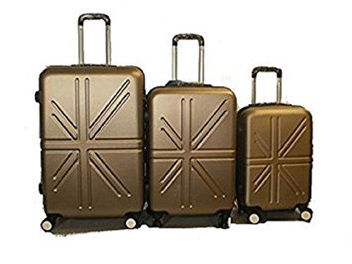 Set 3 Trolley rigide in ABS e policarbonato 4 ruote piroettanti colori vari (Beige)
