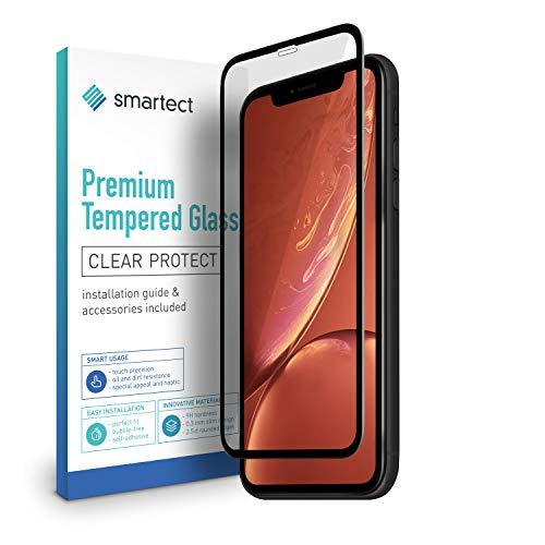 smartect [3D Curved | Negro] Protector de Pantalla de Cristal Templado para iPhone XR Lámina Protectora Ultrafina de 0,3mm | Vidrio Robusto con Dureza 9H y Antihuellas Dactilares