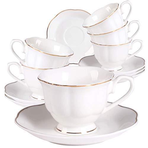 Neue Bone China Weiß Kaffeetassen mit Untertassen 6er Set - 2,8OZ Gold Rand Tee Tassen mit Untertassen für Schwarzer Kaffee, Eiskaffee, Espresso