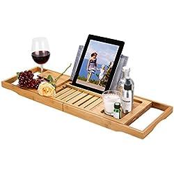 LANGRIA Pont de Baignoire Extensible en Bois 100% Bambou avec Support à Vin Livre et Tablet Adaptable à Diverses Largeurs de Baignoire Résiste à l'Eau et Rouille pour Salle de Bains (Marron)