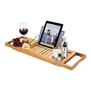 LANGRIA Expandable Bamboo Bath Caddy Tray with Wine Glass Holder Book Tablet Support Smartphone Candles Toiletries Bathtub Tray Water-Resistant Anti-Slip Rubber Pads Bathroom Rack (Bamboo Colour)