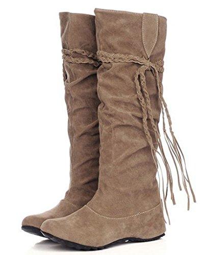 Minetom Herbst Und Winter Frauen Hohe Stiefel Mattoberflächen Höhe Erhöhen Schuhe Mit Quaste Rüschedekoration Khaki 35 (Schnallen-knie-boot Slouch)