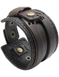 KONOV Bijoux Bracelet Homme - Convient pour la circonférence de bras 19.5 à 21.5cm - Style Punk Rock - Cuir - Fantaisie - pour Homme et Femme - Chaîne de Main - Couleur Marron - Avec Sac Cadeau