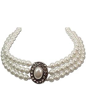 Trachtenschmuck Trachtenkette Perlen 3-reihig (cremeweiß) * Damen Dirndlkette, Perlenkette Oktoberfest