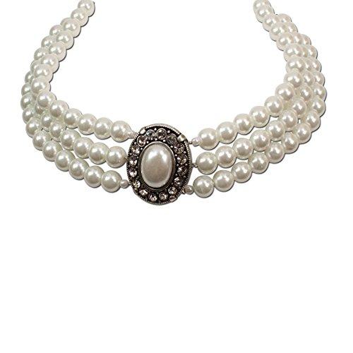 Trachten Perlen Schmuck (Trachtenschmuck * Trachtenkette Perlen 3-reihig * Damen Dirndlkette * Perlenkette mit Strass-Steinen * Oktoberfest Dirndl-Schmuck)