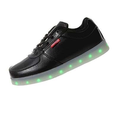 Topteck 7 Farbe LED Leuchtend Sport Schuhe Glow Sneakers USB Aufladen Turnschuhe für Unisex Herren Damen Tanzen Party Rollbrett