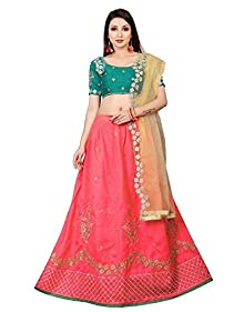 17fe7fc56b4 Drashti Villa Women s Bangalory Silk with Embroidery Lehenga Choli with  Blouse (Free size)