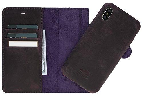 Solo Pelle Iphone X abnehmbare Lederhülle (Ultra 2in1) inkl. Kartenfächer für das original Iphone X in Vintage Lila (Leder Abnehmbarer)