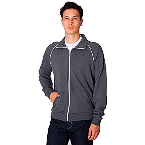 Herren California Fleece Track Jacket (5455) American Apparel Weiß Paspeln Raglan-Schnitt Cadet Kragen 100% Baumwolle Gr. X-Large, Asphalt / White (Tweed-rock Nylon)