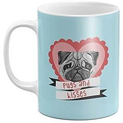 Cute Pugs & Kisses Love Heart 11 ounce Ceramic Tea Coffee Mug