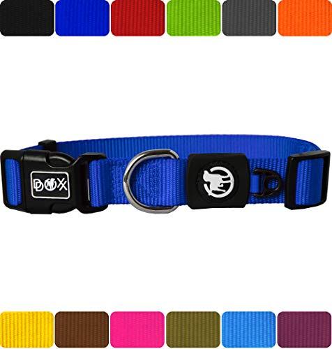 DDOXX Hundehalsband Nylon in vielen Farben & Größen für kleine & große Hunde | Halsband Hund Katze Welpe | Katzenhalsband klein | Hunde-Halsbänder breit Leuchtend | Blau, L (Leder Hund Halsband Und Leine)
