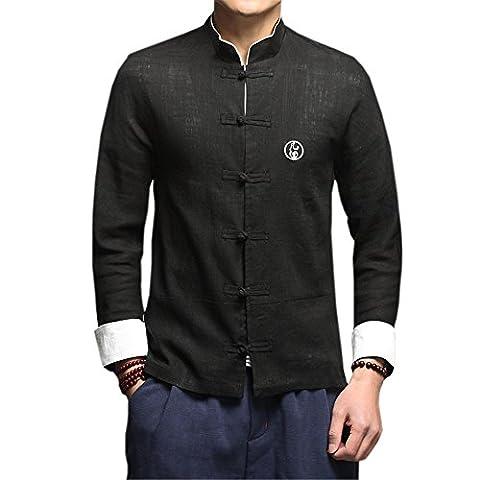 DaDag- Chinesisches Hemd Herren Slim Fit Blusen Groß Größe Freizeithemd Klassisch LangarmhemdMeditations Shirt Jacke (L, Schwarz)