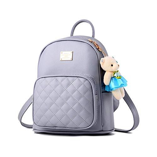 Leder Multi-tasche Rucksack (Damen luxuriös PU Leder Rucksack Schulrucksack schöne kleine Tasche neue Mode rund einzigartig Design Niet PU-Leder mit Nieten)