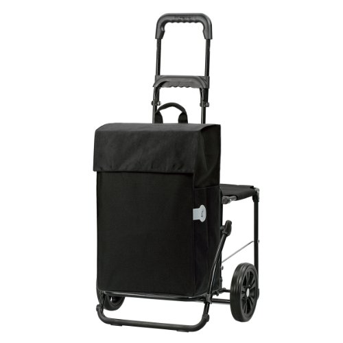 Original Andersen Einkaufstrolley Komfort | Einkaufstasche Hera schwarz | Trolley Stahlgestell