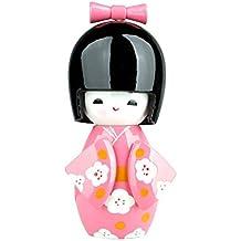 Kokeshi giapponese,bambola decorativa in legno con kimono rosa