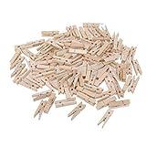Aofocy Mini Pinzas para la Ropa Foto de Madera Natural Peg Pin Craft Clip con para Colgar Fotos en Papel, 100 Piezas (Madera)