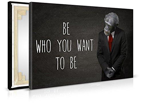 Leinwandbild Business Monkey - Fertig Aufgespannt - Gemälde, Kunstdruck, Wandbild, Keilrahmen, Bild auf Leinwand von Trendwände - Format: 120x80cm, Standard: Vlies-Leinwand 2cm (Business Monkey Kostüm)