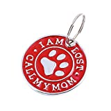 EUCoo Hundehalsband AnhäNger Hundemarke Nette Mini Diamant Pfote D Namensschild Haustier Halskette SchlüSsel Schmuck(rot)